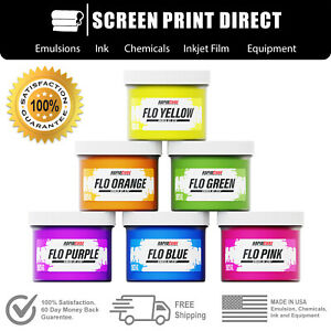Plastisol Fluorescent Ink Kit For Screen Printing Low Temp Cure 6 Colors
