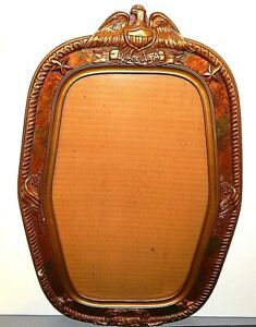Old Military Eagle Wwii Era Usa Wood Plaster Gesso Frame Convex Glass 20 X 12