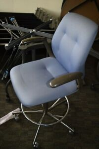 Steelcase Drafting Stool Chair Blue Fabric Adjustable Height Local Pick Up Only