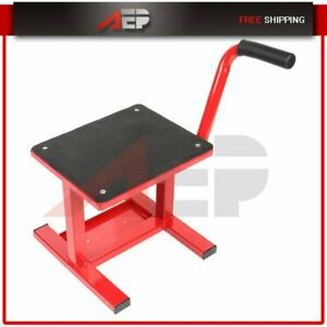 Adjustable Motorcycle Racing Offroad Motocross Dirt Bike Steel Lift Red 330 Lb