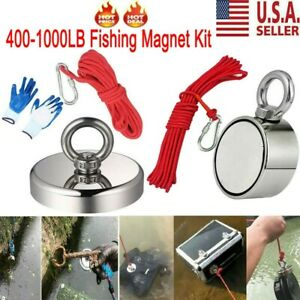 400 1000lb Fishing Magnet Kit Neodymium Super Strong Pull Force Treasure Hunt