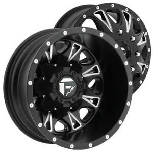 4 17 Fuel Wheels D513 Throttle Dually Matte Black Milled Off Road Rims B47