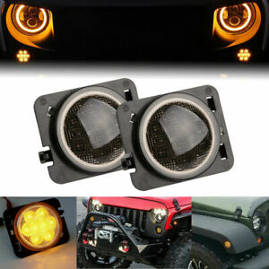 2pc Front Fender Led Side Marker Light W smoked Lens Fit 07 18 Jeep Wrangler Jk