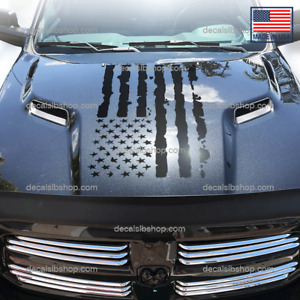 Flag Distressed Usa American Hood Decal Fits Dodge Ram Hemi 1500 2500 Truck 1pc