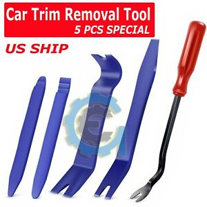 5pcs Car Door Trim Removal Tool Pry Panel Dash Radio Body Clip Installer Kit