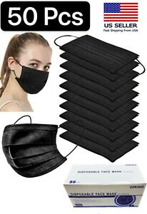 50 Pcs Face Mask Mouth Nose Protector Respirator Masks With Filter Black
