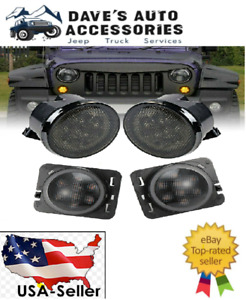 Led Front Turn Signal Side Marker Fender Lights Smoked Lens For Jeep Wrangler Jk