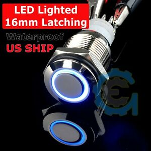 16mm 12v Car Boat Blue Latching Led Angel Eye Light Push Metal Button Switch