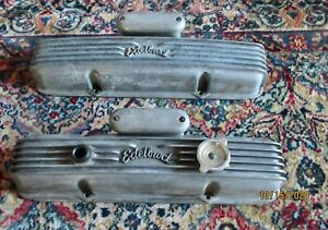 Vintage Edelbrock Small Block Chevy Valve Covers Breathers 327 350 1932 Ford