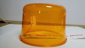 Amber Beacon Dome Vintage Police Or Fire For Large Revolving Light Lens 250 33