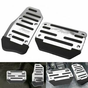 2pcs Universal Silver Non slip Automatic Gas Brake Foot Pedal Pad Cover Car Auto