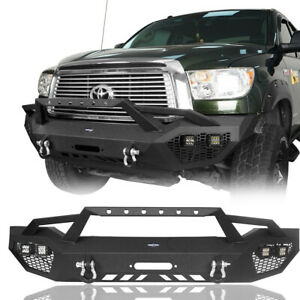 Textured Steel Front Bumper W Led Spotlight D Rings For 07 13 Toyota Tundra