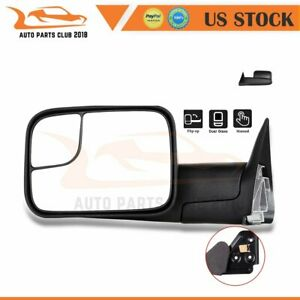 For 94 01 Dodge Ram 1500 94 02 2500 3500 Lh Side Fold Black Towing Mirror Manual