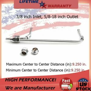 Chrome Dual Inlet Fuel Line 3 8 Inch Inlet 5 8 18 Inch Outlet For Holley 4150