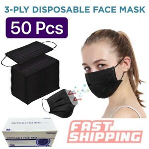 50 Pcs Black Disposable Face Mask Triple Ply Ear loop Mouth Cover