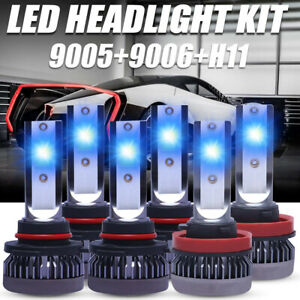 9005 9006 H11 Led Combo Headlight Fog Light High Low Beam Bulb Ice Blue 8000k