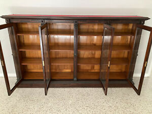 Large 8 Foot 19th Century Regal Rosewood Bookcase With 4 Locking Doors And Key