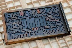 Collage home Made Of Letterpress Wood Type Characters In Antique Drawer Old