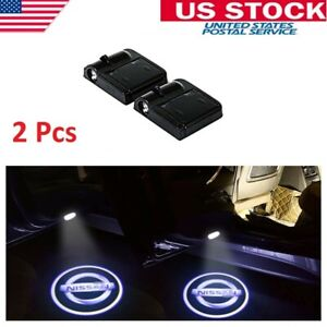 2x Wireless Car Door Led Welcome Courtesy Light Lamp Logo Us Stock For Nissan