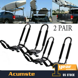 2 Pair J Bar Kayak Roof Rack Folding Canoe Top Mount Carrier Holder Set Car Suv