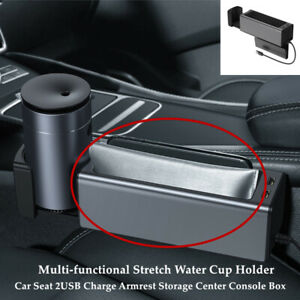 Car Seat 2usb Charge Armrest Storage Center Console Box Stretch Water Cup Holder