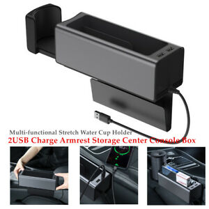 Car Seat 2usb Charge Armrest Storage Center Console Box Water Cup Holder Durable