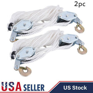 Lot 2 4000lb 2 Ton 65ft Poly Rope Hoist Pulley Block And Tackle Rope 7 1 Lifting