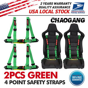 Takata Race 4 Point Snap on 3 Racing Seat Belt Harness With Camlock Green