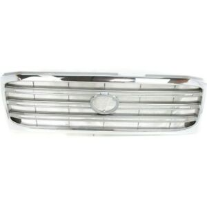 For Toyota Land Cruiser Grille 2003 2005 Chrome Shell painted Silver Gray Insert