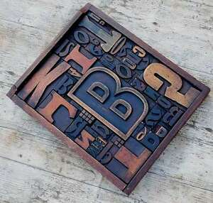 Unique Collage Composition Letterpress Wood Type Characters Drawer Industry Rare