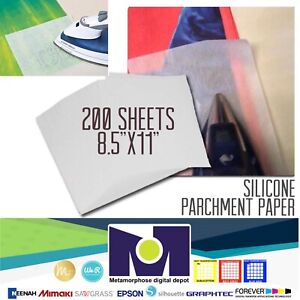 Silicone Parchment Paper For Heat Transfer Applications 8 5 x11 200 Sheets