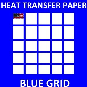 Iron On Inkjet Opaque Heat Transfer Paper For Dark Fabrics blue Grid 100 Sh A