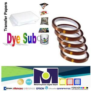 Dye Sublimation Transfer Paper 100 Sheets 8 5x11 Pack 5 Rolls Of Thermal Tape
