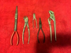Snap on Tools 5 Pairs Of Pliers s 911acp 208a 5 196c 90a all 5 Pairs Work Well