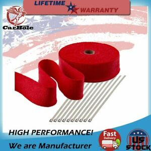 2 50ft Roll Red Exhaust Wrap Manifold Header Pipe Heat Wrap Tape W 10 Ties New