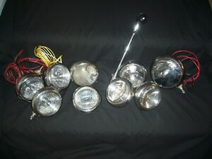 Assortment Of Vintage Model H1 Fog Spot Lights Unity Mfg Co Chicago Usa