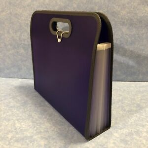 Expanding Portable Organizer 13 Pocket File Folder With Handles Purple Guc