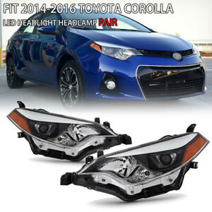 For 2014 2016 Toyota Corolla Led Headlights Headlamps Replacement Assembly Pair
