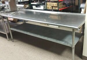 Stainless Steel Commercial Work Table With Galvanized Legs And Undershelf