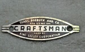 Vintage Craftsman king Seeley Co Badge Tag Emblem Drill Press Jointer