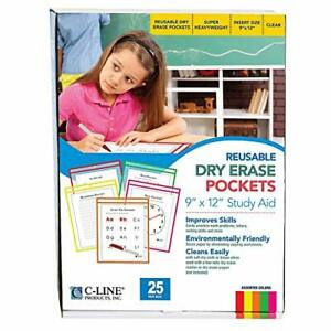 C line Reusable Dry Erase Pockets 9 X 12 Inches Assorted Neon Colors 25 Pocke