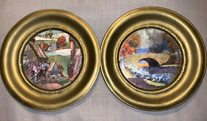 Vintage 2 Brass Round Picture Frames Made In England Foil Scenes 6 5