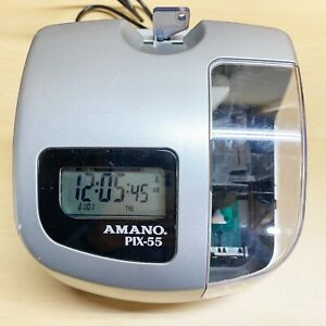 Amano Pix 55 Electronic Time Clock Employee Clock In Recorder Working With Key