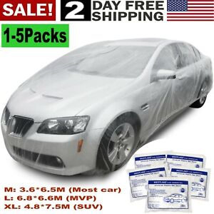 1 5 Pack Clear Plastic Temporary Universal Disposable Car Cover Rain Dust Garage