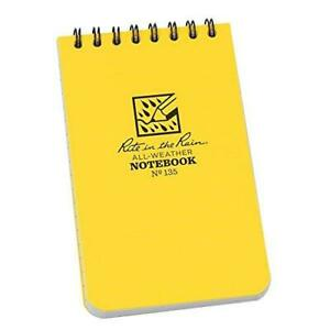 Rite In The Rain 135l All weather Top spiral Notebook 3 X 5 Yellow Cover