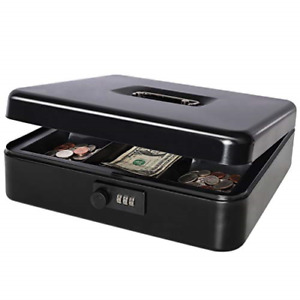 Cash Box With Money Tray Lock Large Steel 5 Compartments Sturdy Handle Black