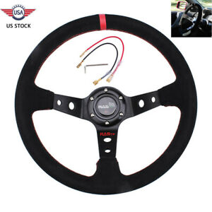Universal 345mm Suede Leather Stitch Deep Dish Sport Racing Car Steering Wheel