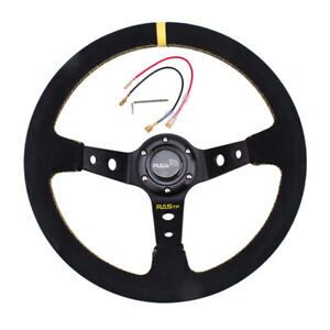Us 14inch 345mm Deep Dish 93mm Drifting Racing Steering Wheel Suede Leather