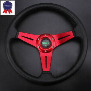 Universal Drifting Racing Steering Wheel 340mm Aluminum 6cm Deep Dish Blue Us