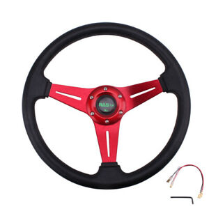 Red Universal Drifting Racing Steering Wheel 340 Mm Aluminum 6cm Deep Dish